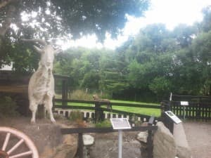 The Goat Statue with Irish Wolf Hound at the Kerry Bog Village